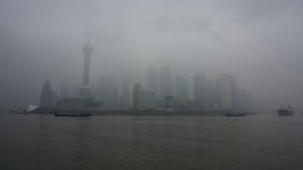 View from the Bund. You can discern a neat skyline through the smog and fog.