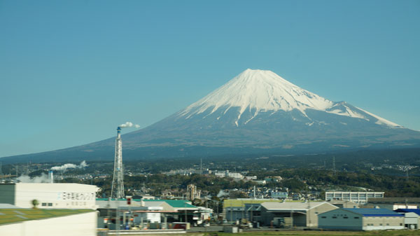A picture of Mount Fuji, taken at about 81 mph. Very symmetrical, how Japanese!