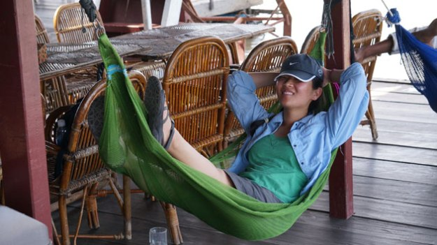 My wife chilling out in a Cambodian floating village. Thoroughly enjoying the moment.