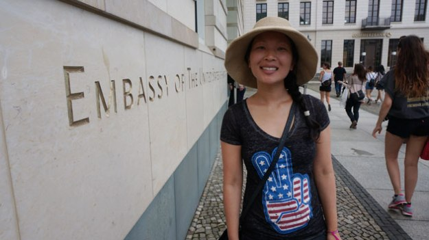 My wife posing in front of the USA embassy in Berlin, Germany.
